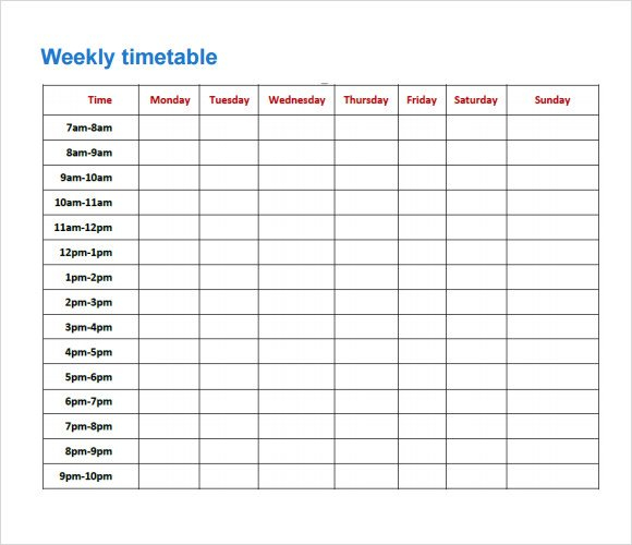 Free 8+ Sample Timetables In Pdf   Excel Monday Friday Schedule Download