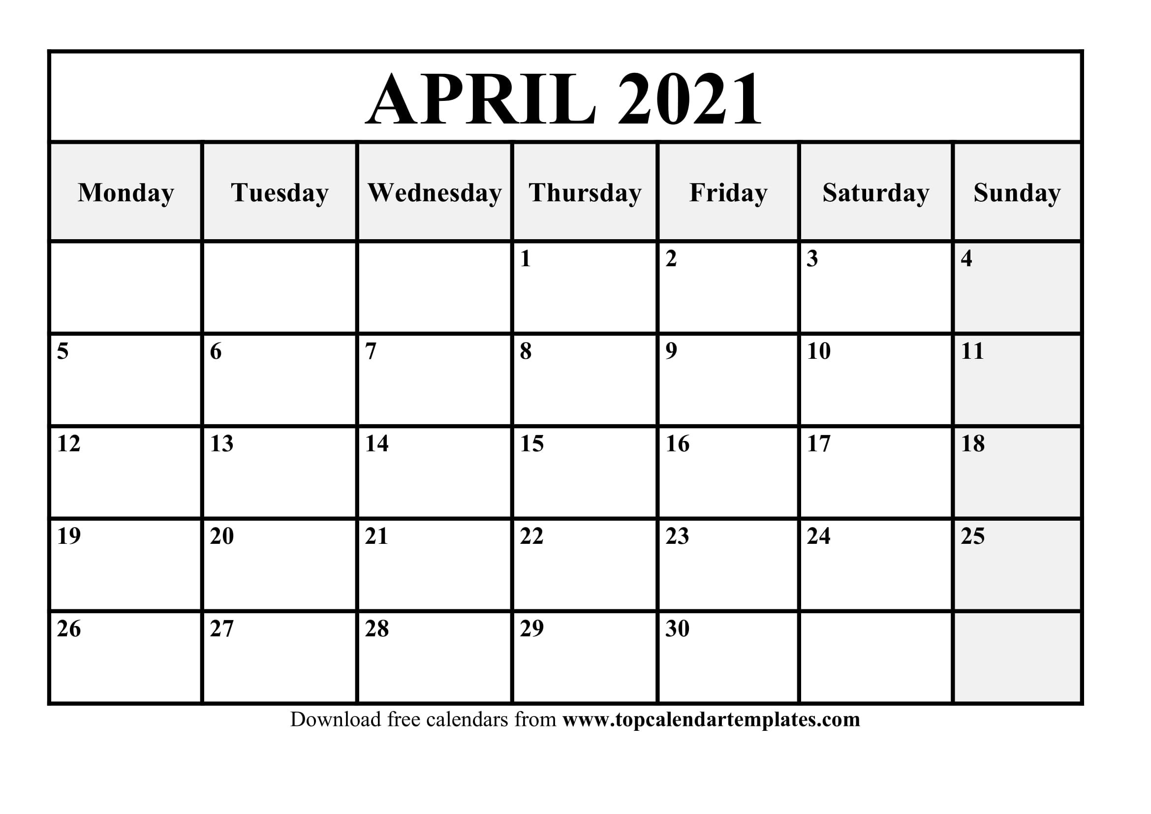 Free April 2021 Printable Calendar In Editable Format Free Caolendar To Fill In Online