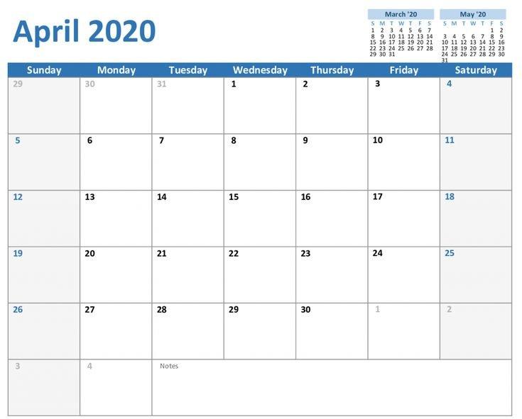 Free April Calendar 2020 Printable Editable In Pdf, Word Fillable Birthday Calendar Template Excel