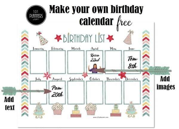 Free Birthday Calendar Template   Printable & Customizable Free Editable Birthday Calendar
