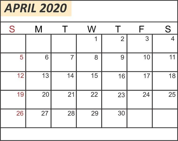 Free Blank April 2020 Calendar Printable In Pdf, Word Fillable Birthday Calendar Template Excel