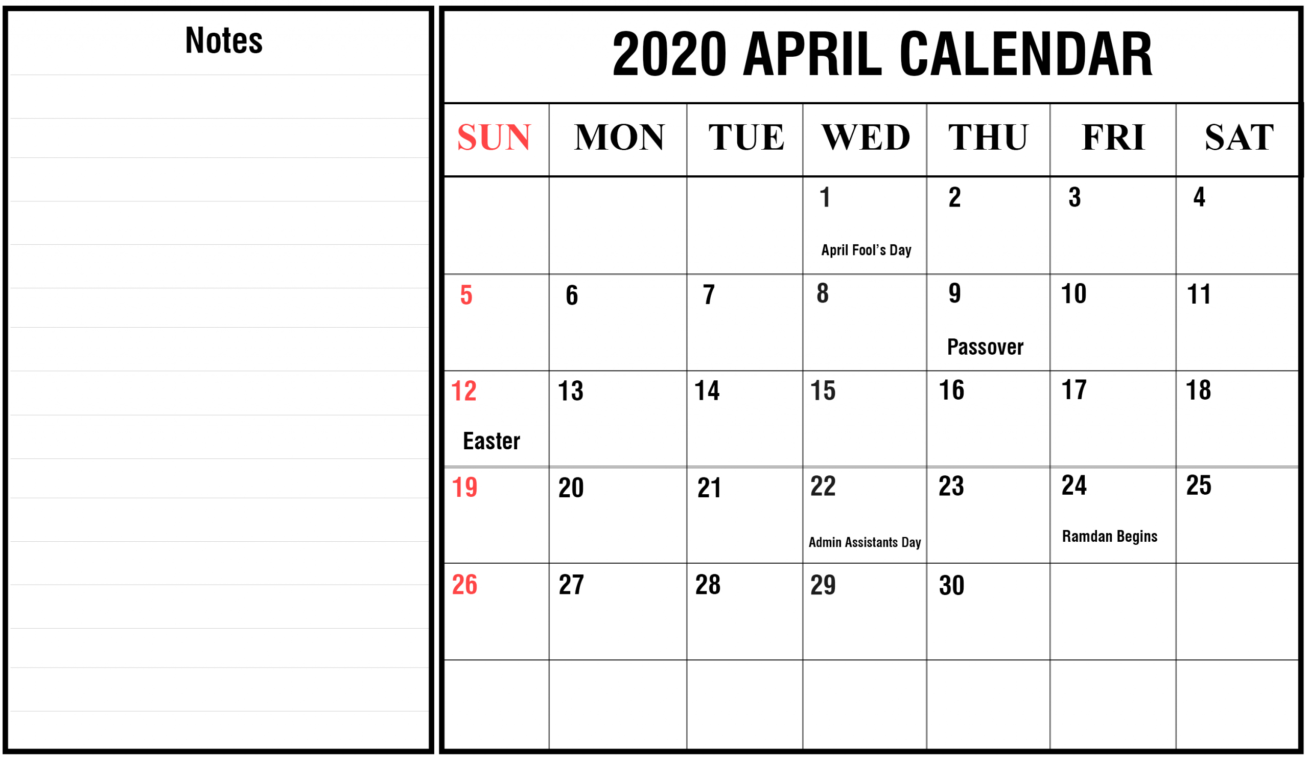 Free Blank April Calendar 2020 Printable Template Editable Free Weekly Calendar Fillable With Times Starting At 6Am