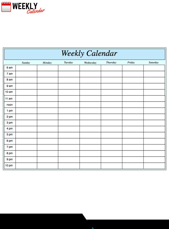 Free Blank Printable Weekly Calendar 2020 Template In Pdf Blank Timetable One Week