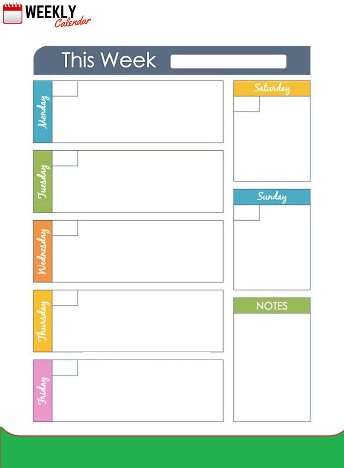 Free Blank Printable Weekly Calendar 2020 Template In Pdf One Week Calendar To Type In