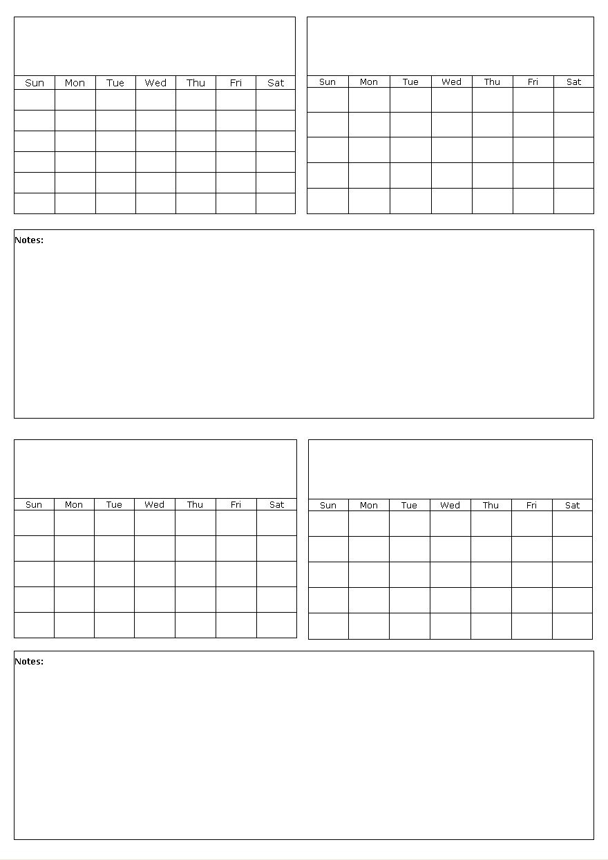 Free Calendar Template 4 Months To A Page | Example Blank Monthly Calendar Page Without The Year