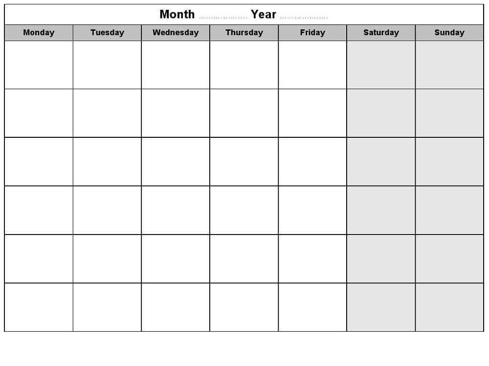 Free Calendars Monday Thru Sunday Image | Calendar Monday To Sunday Calendar Template Free