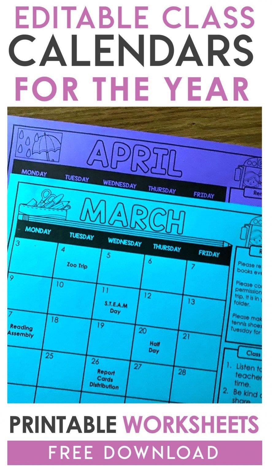 Free Editable Monthly Class Calendars In 2020   Math Free Editable Preschool Calendar Template