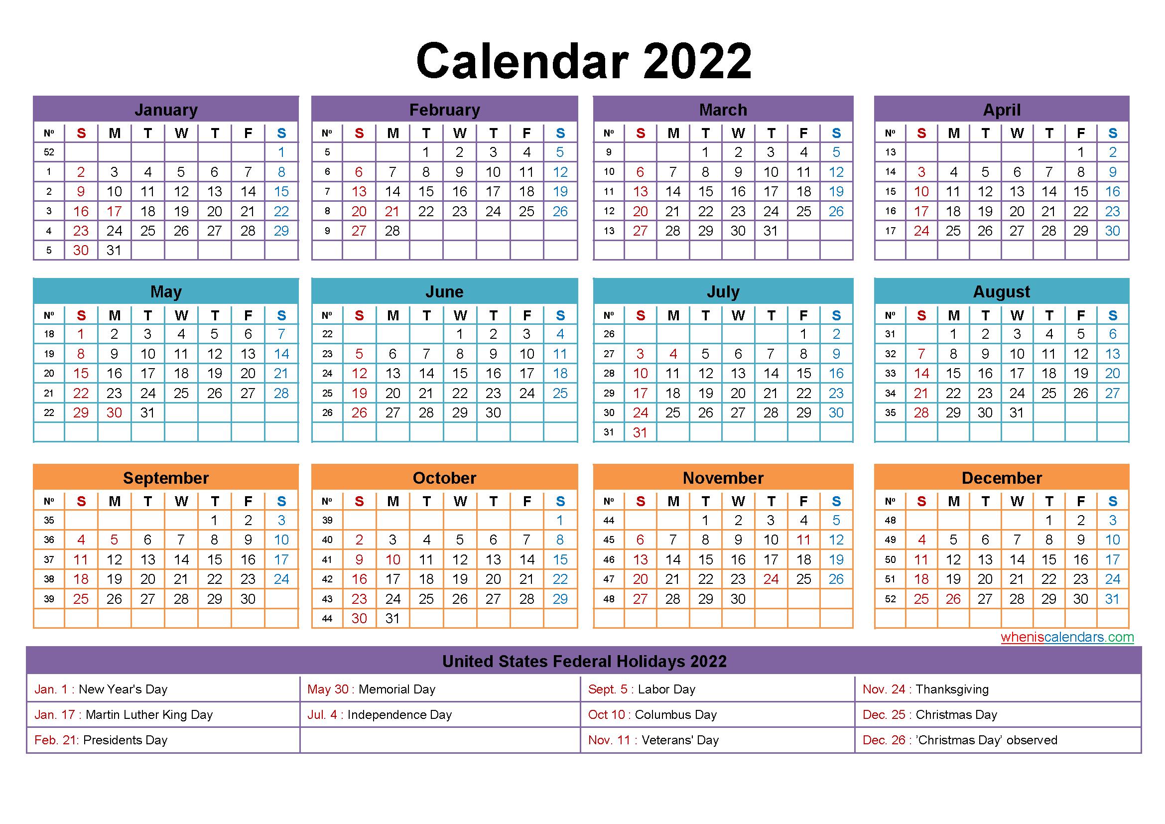 Free Editable Printable Calendar 2022 – Template No.ep22Y23 Editable 12 Month Calendar