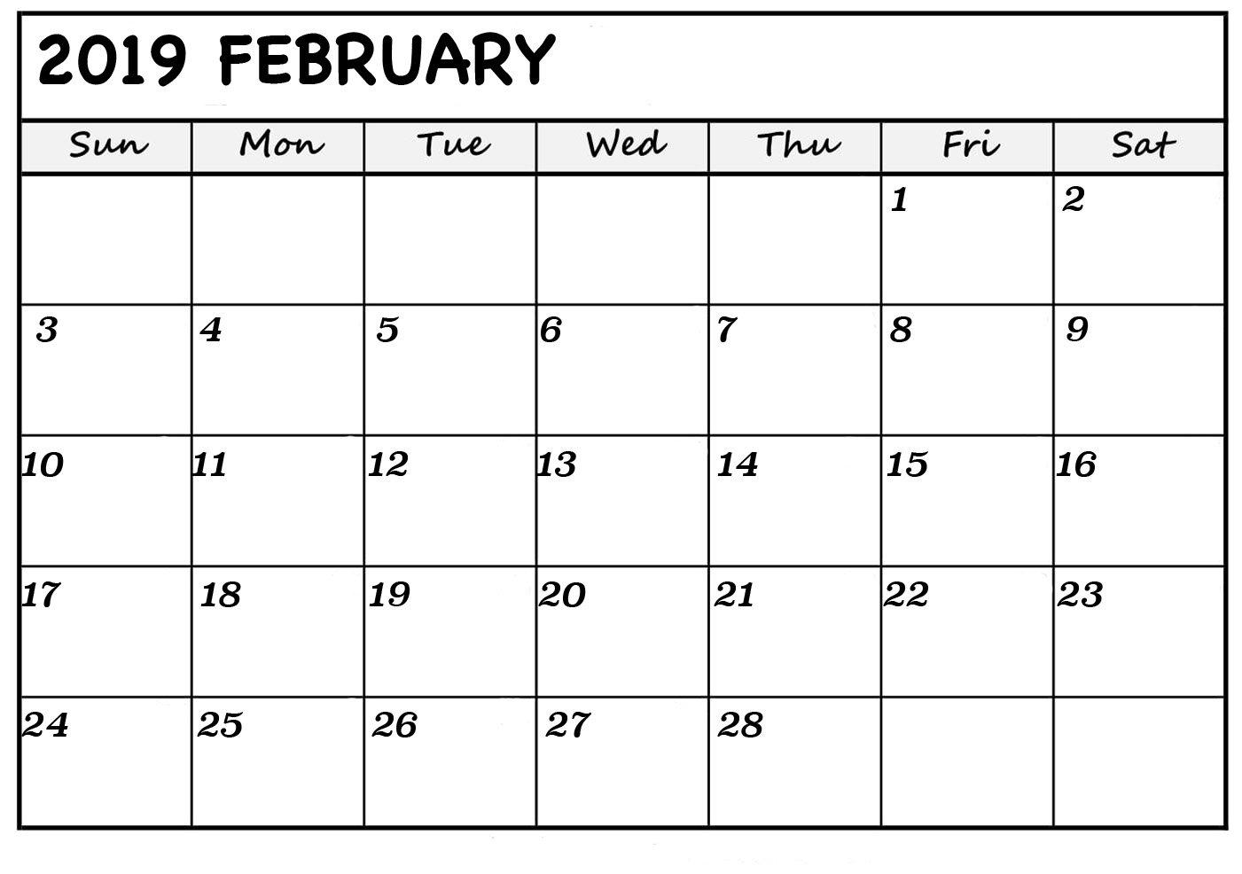 Free February 2019 Printable Calendar Templates – Calendar Calender You Can Edit