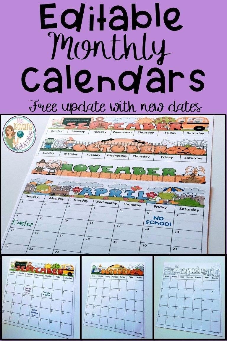 Free Free Editable Calendars For Teachers | Get Your Free Calendar Templates For Teachers