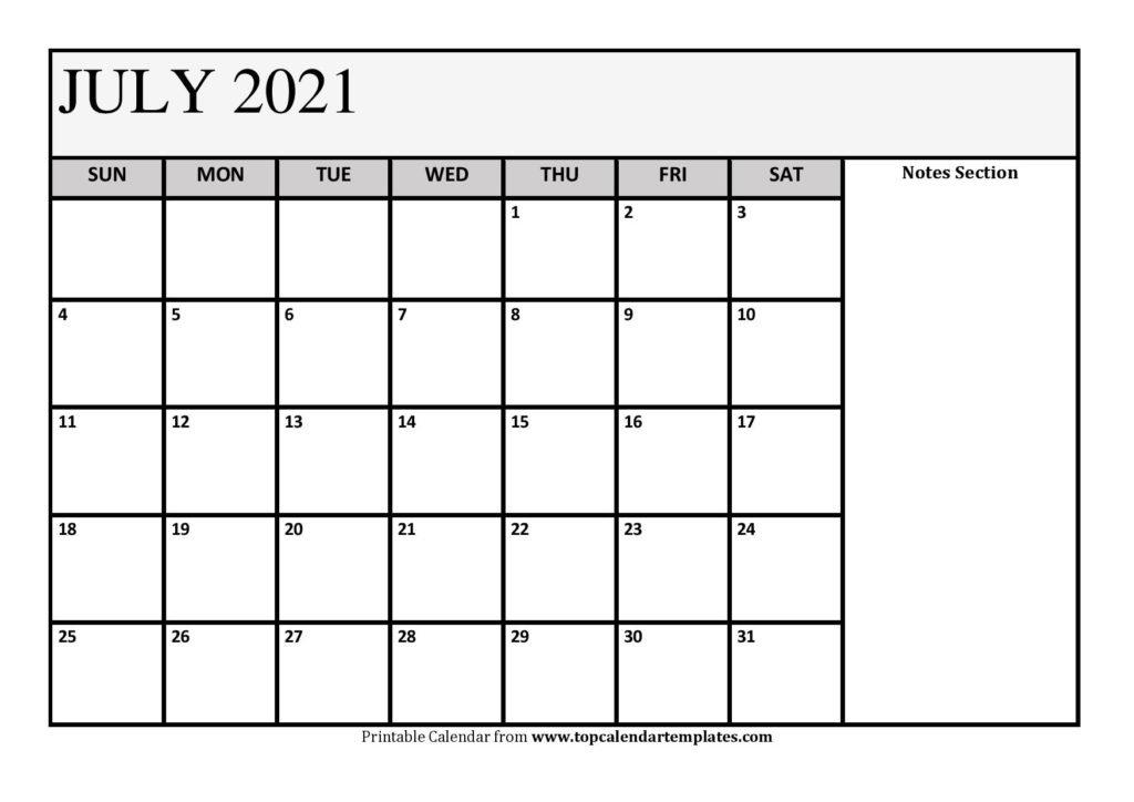 Free July 2021 Calendar Printable (Pdf, Word) Templates Free Bold Printable Calnder Jully