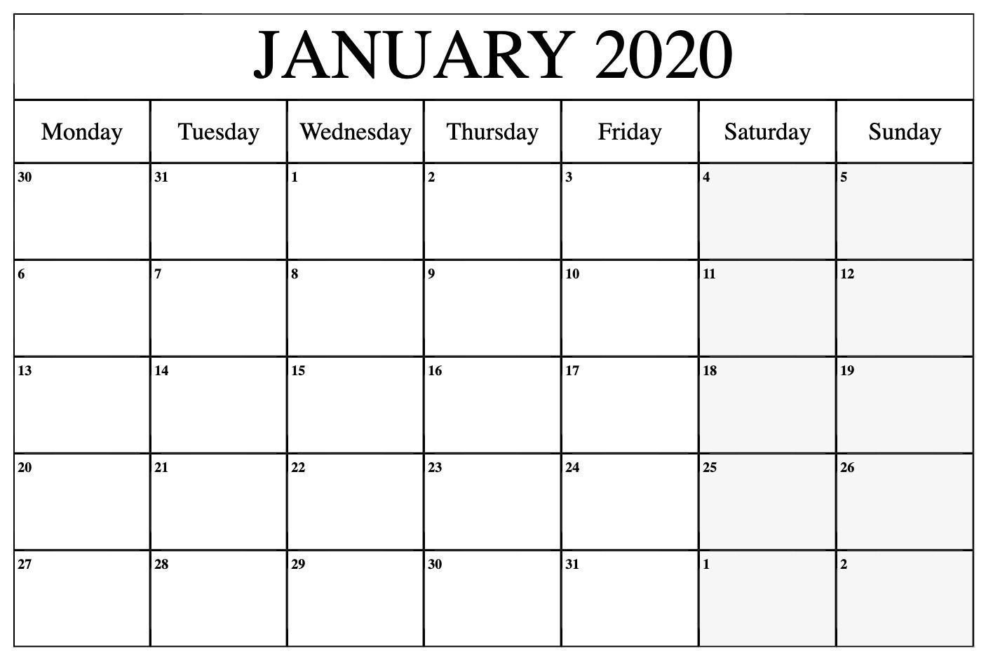 Free Monthly Monday Through Friday Calenar – Example Printable Weekly Calendar Monday Through Friday