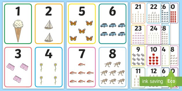 Free! – Number Picture Cards To 30 | Primary Teaching Free Printable Numbers Flashcards 1 To 31
