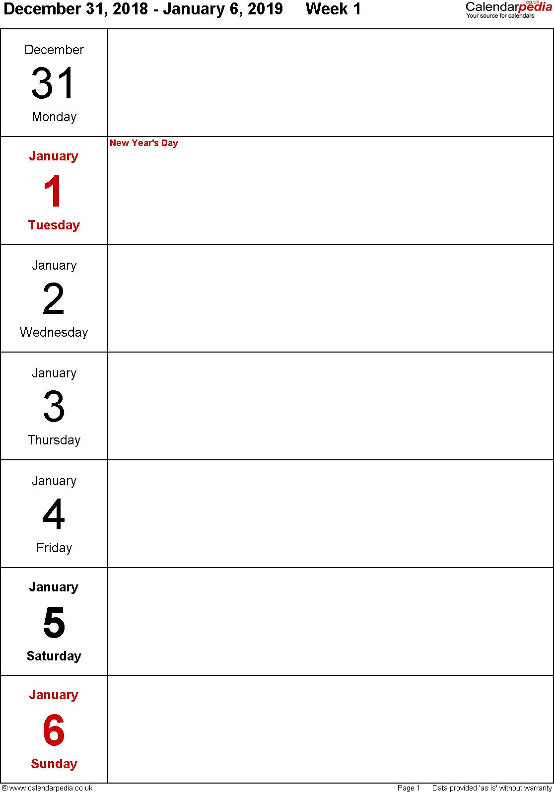 Free Printable 1 Week Calendar | Calendar Printables Free 1 Week Calendar Template