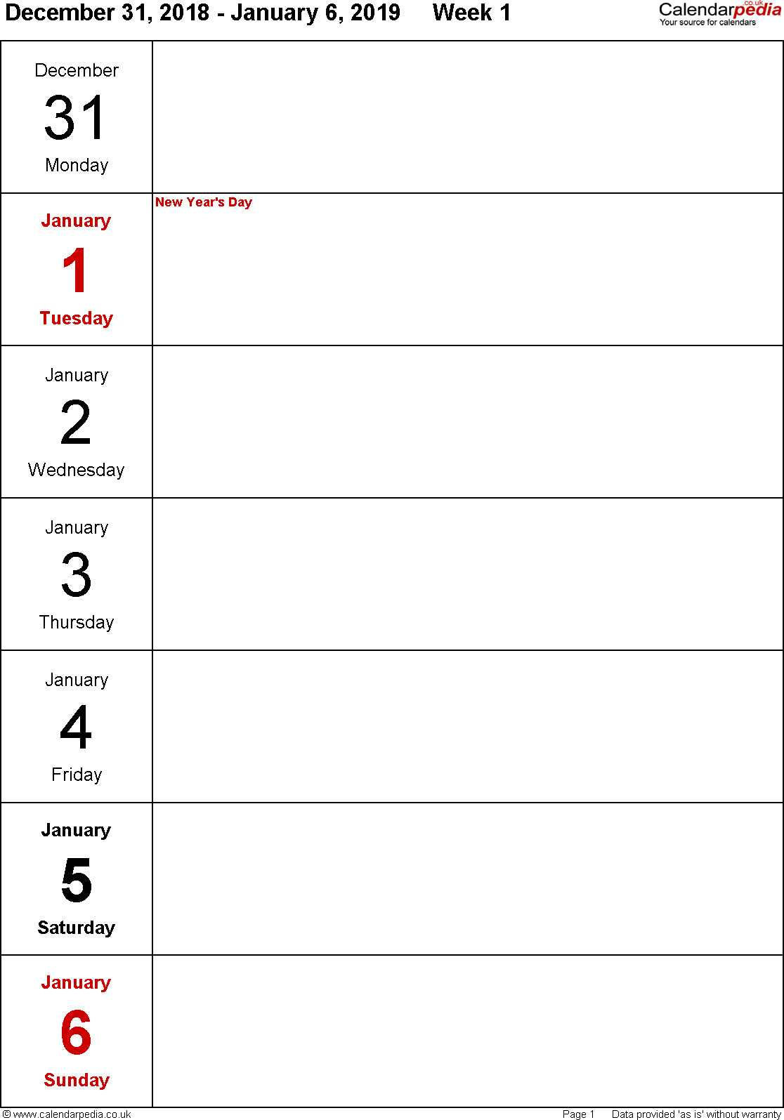 Free Printable 1 Week Calendar | Calendar Printables Free 1 Week Schedule Template