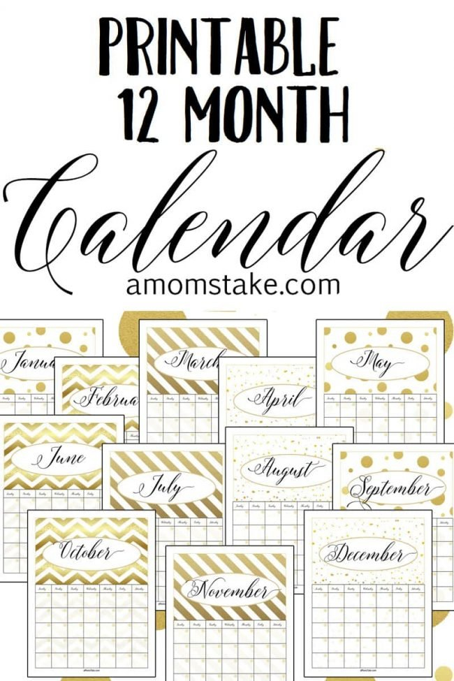 Free Printable 12 Month Calendar – A Mom'S Take Printable Calendar That You Can Fill In Color In The Blocks