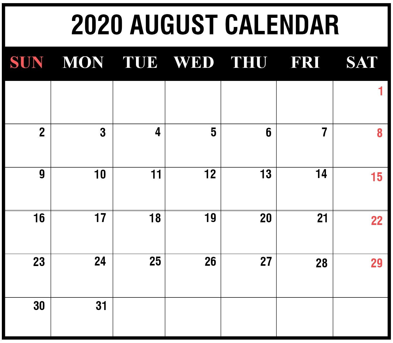 Free Printable 2020 Calendar To I Can Edit – Calendar Free Calendar That I Can Edit