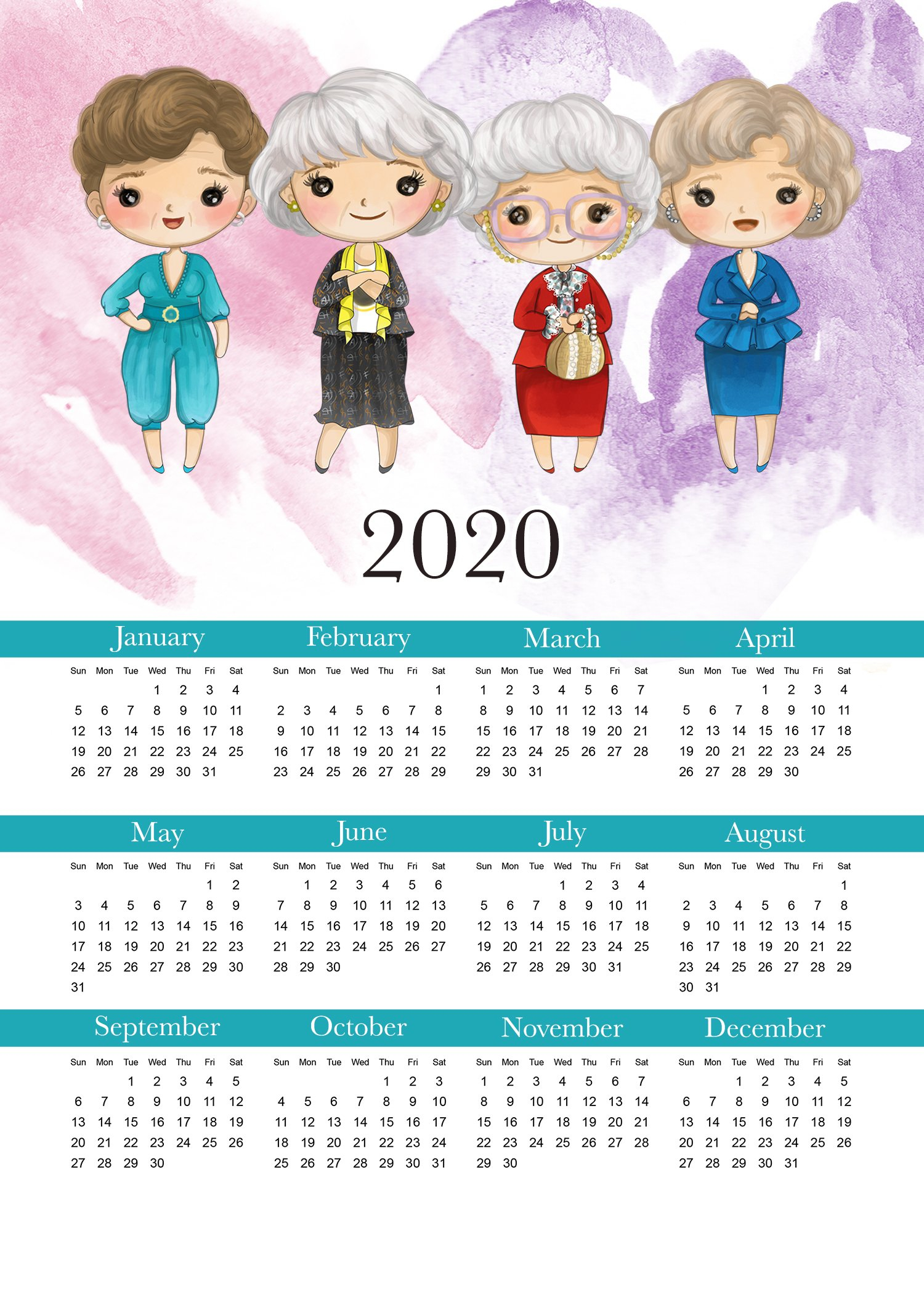Free Printable 2020 Golden Girls Calendar – The Cottage Market Free 2020 Checkbook Size Calendar Same Size As A Check For The Year