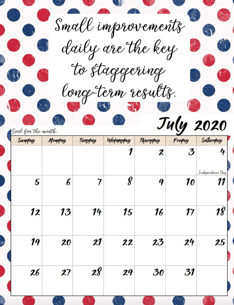 Free Printable 2020 Monthly Motivational Calendars Calendares To Print That Have The Week M Thru Sunday
