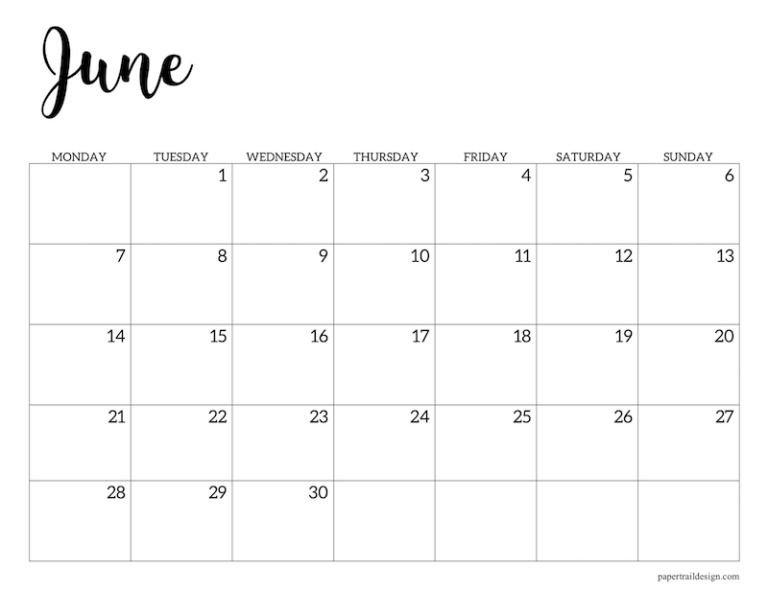 Free Printable 2021 Calendar – Monday Start   Paper Trail Hp Free Calander Templates