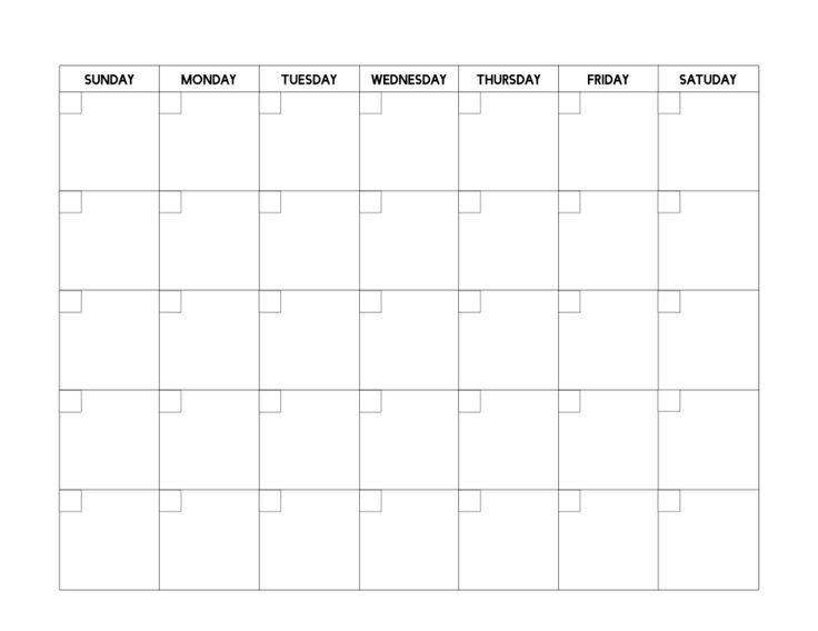 Free Printable Blank Calendar Template | Blank Calendar How To Print A Calendar Full Page 8 X 11