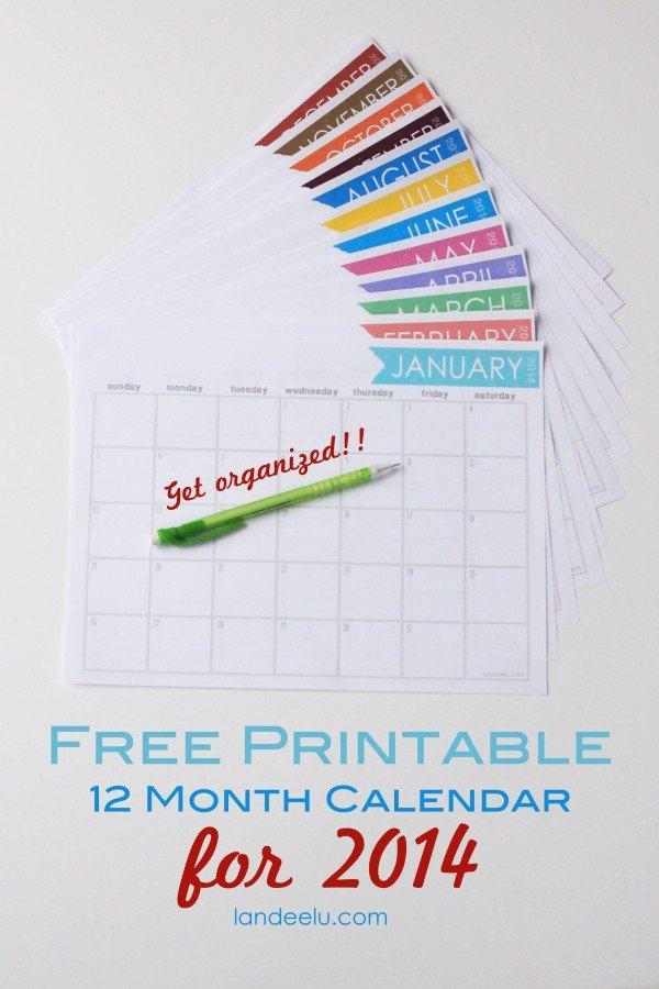 Free Printable Calendar 2014 – Landeelu 12 Month Birthday Calendar Free Printable