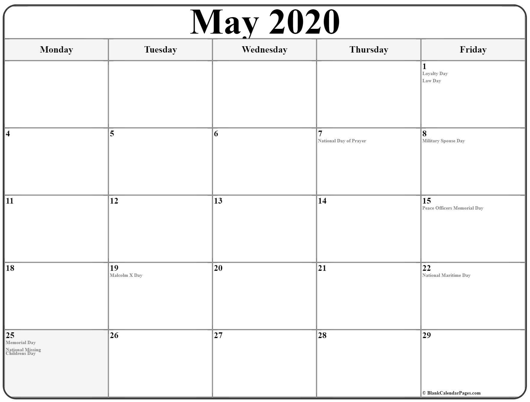 Free Printable Calendar Monday Through Sunday | Month Monday To Sunday Calendar Template Free