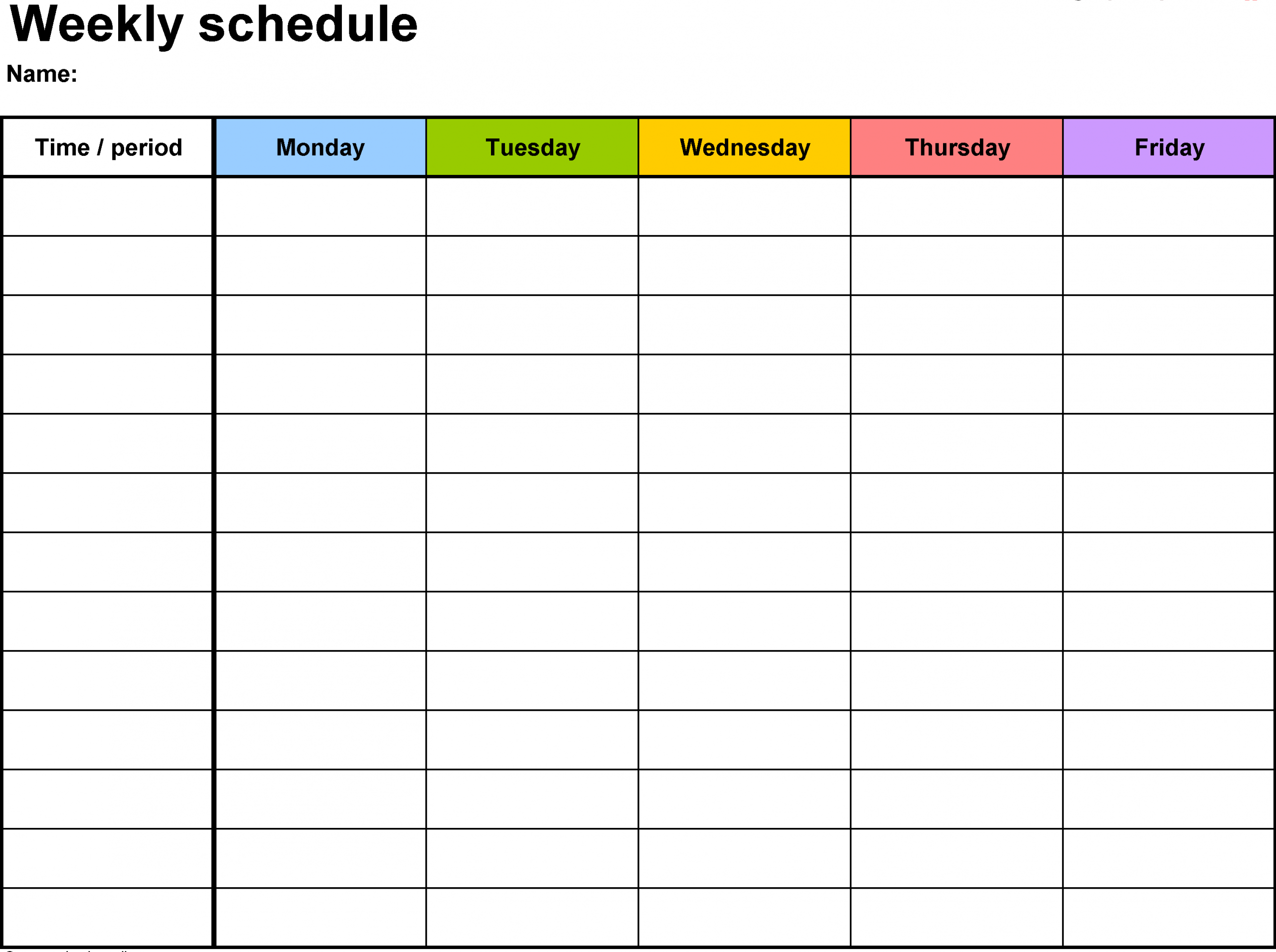 Free Printable Calendar With Time Slots   Calendar Schedule Templates With Hour Time Slots