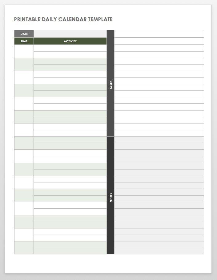 Free Printable Daily Calendar Templates   Smartsheet Free Daily Calendar 1/4 Hour