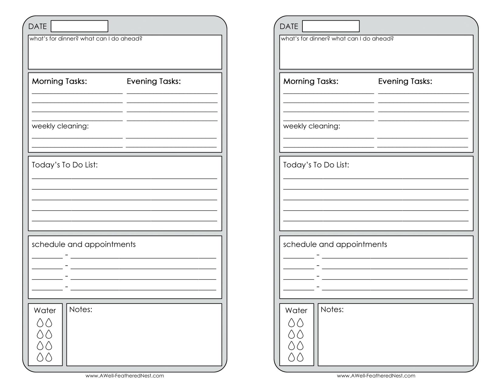 Free Printable Daily Planner Page Half – Calendar Half Sheet Calendar Template Free