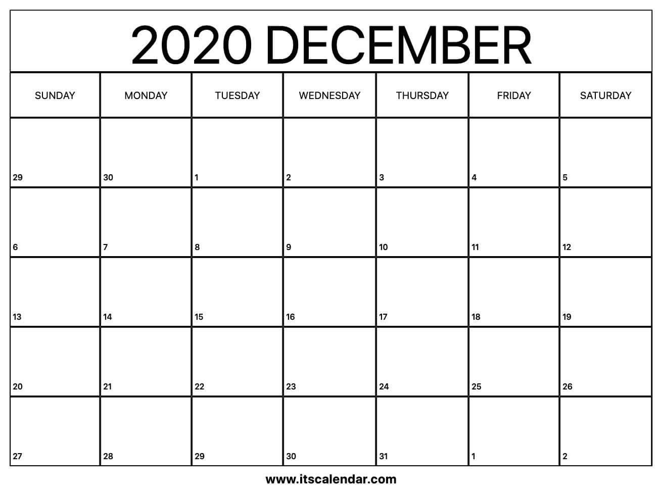 Free Printable December 2020 Calendar Short Timer Calendar Download Free