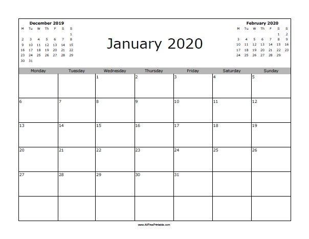 Free Printable January 2020 Calendar. Print The Free Printable 2020 Calendar Free Saturday To Friday