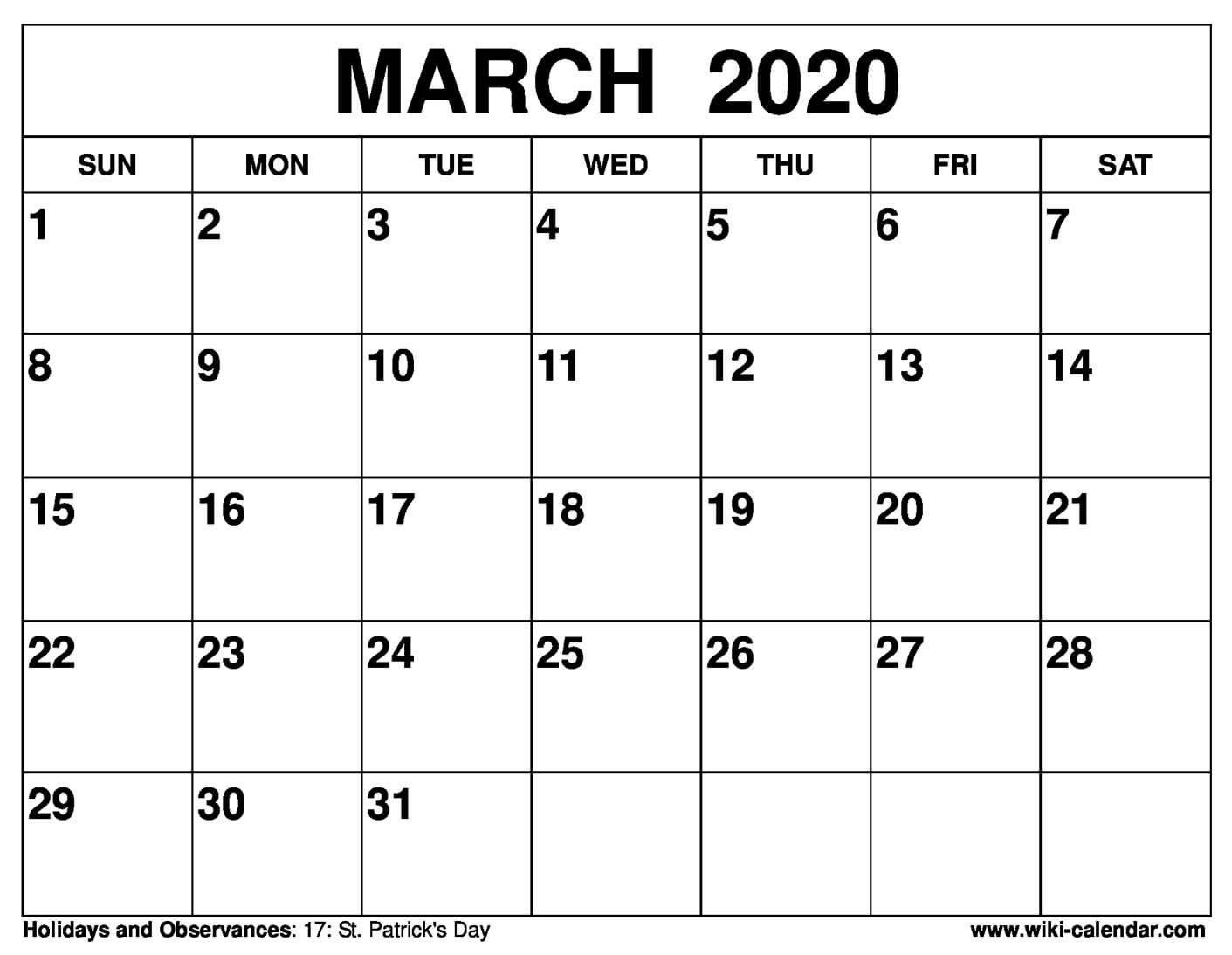 Free Printable March 2020 Calendar – Wiki Calendar How To Print A Calendar Full Page 8 X 11