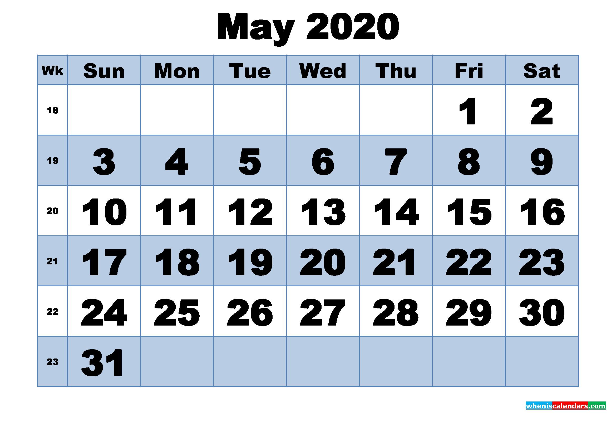 Free Printable May 2020 Calendar With Week Numbers Printable Calendar Numbers 1 31 May