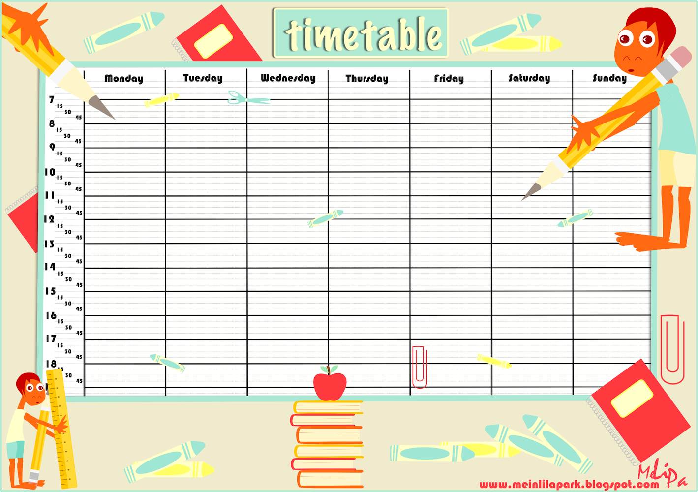 Free Printable School Timetable And School Scrabpooking School Time Schedule Exercise Fill Blanks