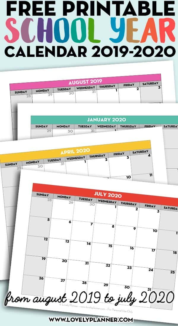 Free Printable School Year Calendar – Monthly Pages 2019 Free 2020 Checkbook Size Calendar Same Size As A Check For The Year
