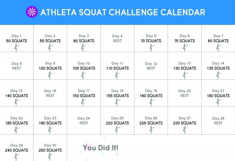 Free Printable Squat Challenge Calendar : Free Calendar Free Printable Squat Challenge Chart