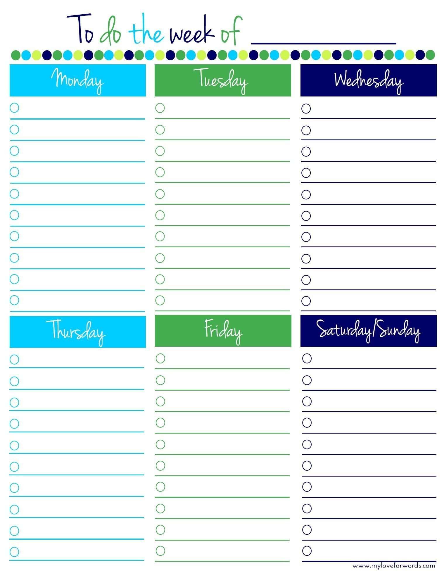 Free Weekly Planner Template Monday To Friday – Template Mon – Fri Calender Layout Download