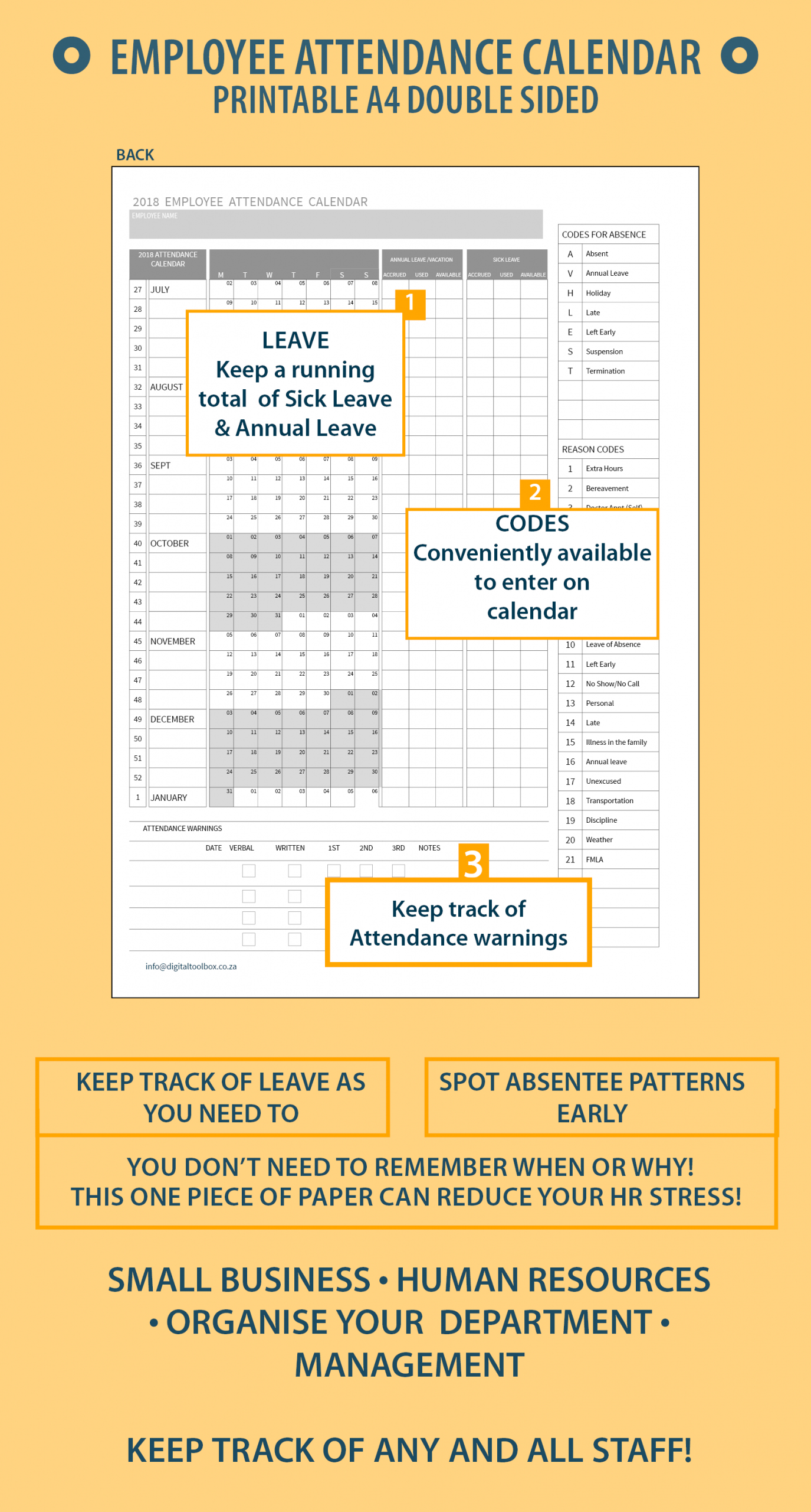 Get Free Employee Absentee Calendar 2020   Calendar Free Template For Employee Time Off Calendar