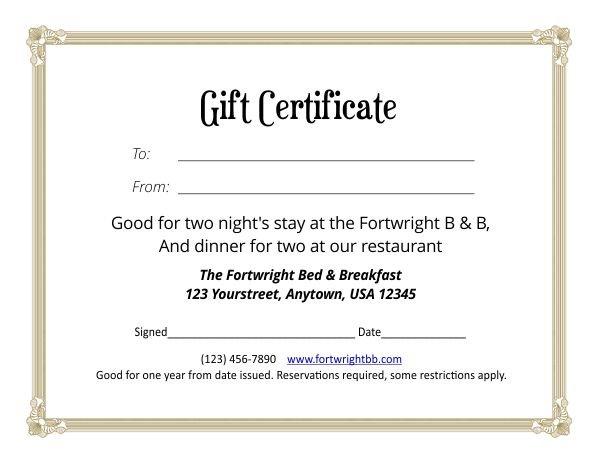 Gift Certificate Template 4 5 Printable Calendar 8 1/2 X 5.5