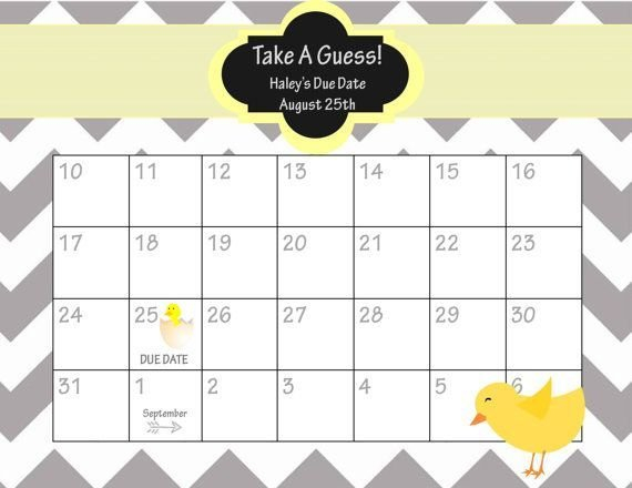 Guess Babies Due Date Calendar Free Printable   Baby Due Free Fill In Birthday Calendar