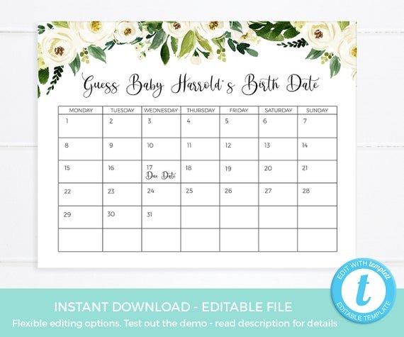 Guess Baby Due Date Calendar Editable Template Guess Baby Babies Due Date Guess Large Print Out