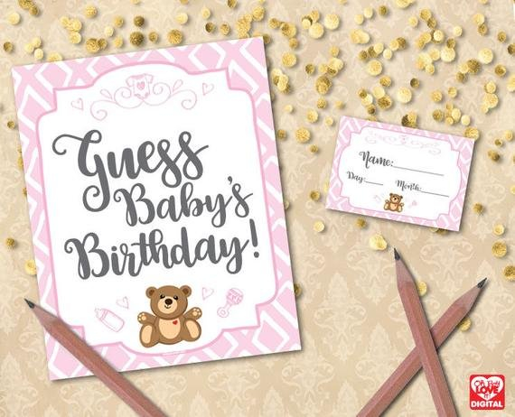 Guess Baby'S Birthday Guess The Due Date Printable Baby Guess The Baby'S Arrival Date