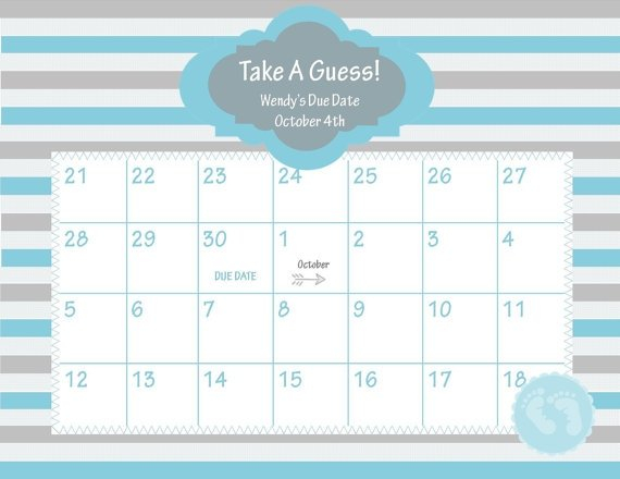 Guess The Due Date Template : Free Calendar Template Baby Bet Calnder Template