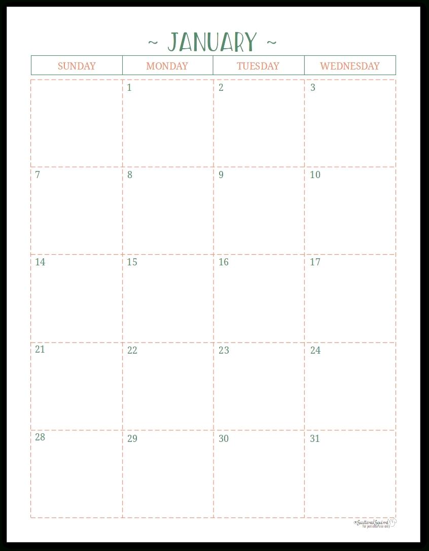 Half Page Monthly Calendar Printable – Calendar Half Sheet Calendar Template Free