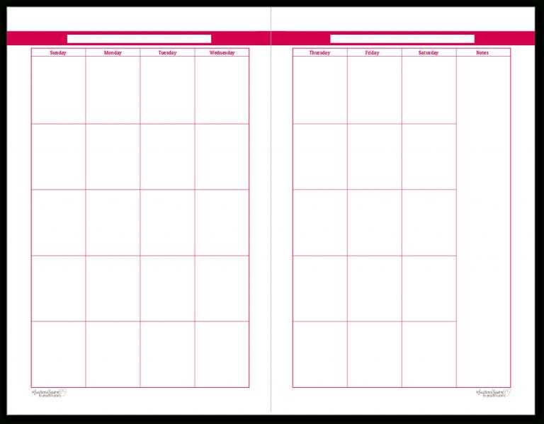 Half-Size Rasberry 2 Page Monthly Calendar | Personal Half Sheet Calendar Template Free
