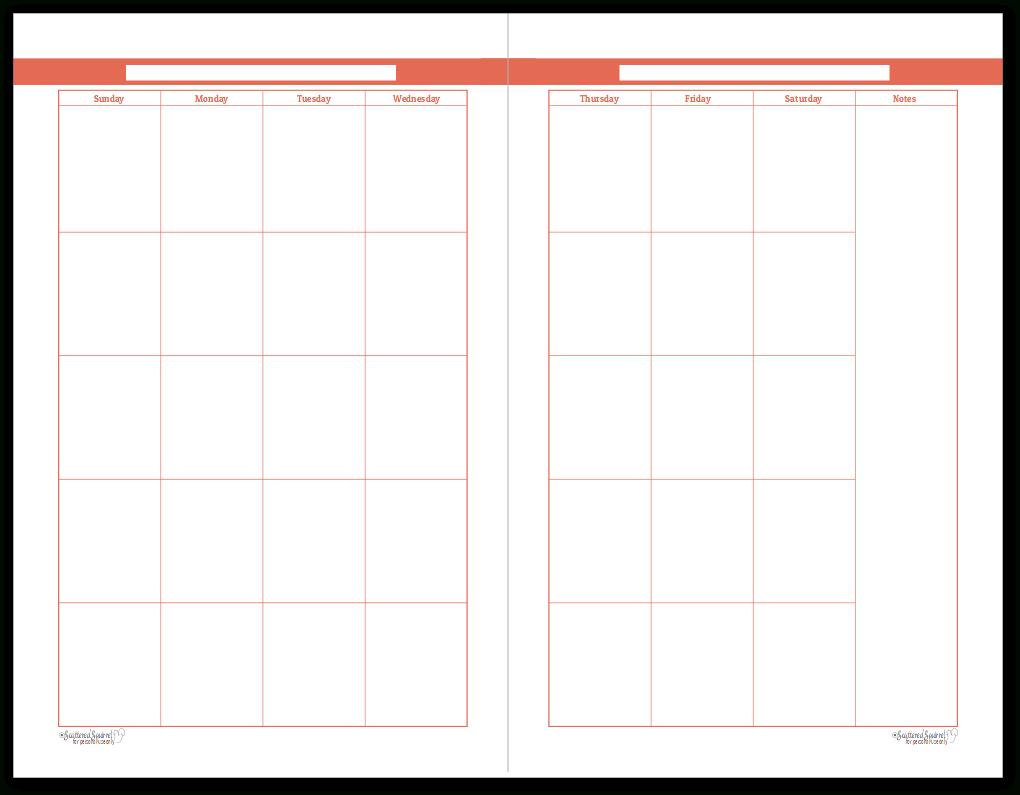 Half Size Summer Orange 2 Page Monthly Calendar   Personal 8X11 Sie Free April Calander