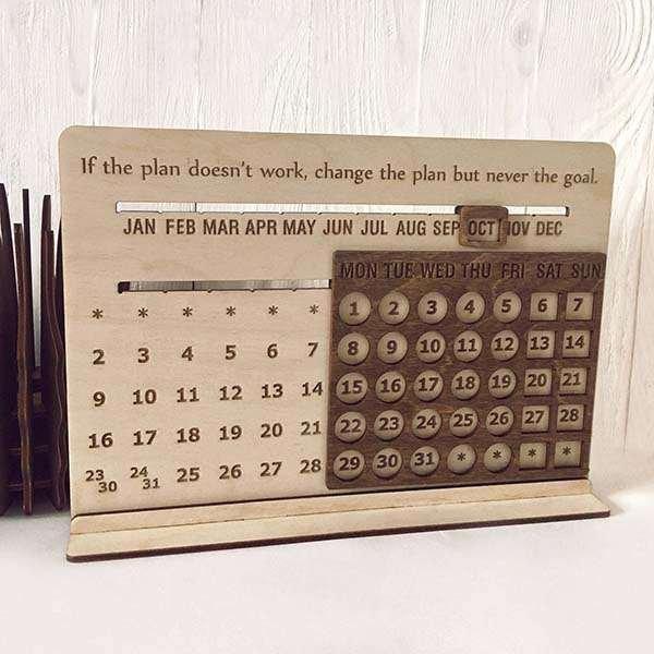 Handmade Desk Wooden Perpetual Calendar | Gadgetsin 3 Month Wooden Calendar Frame