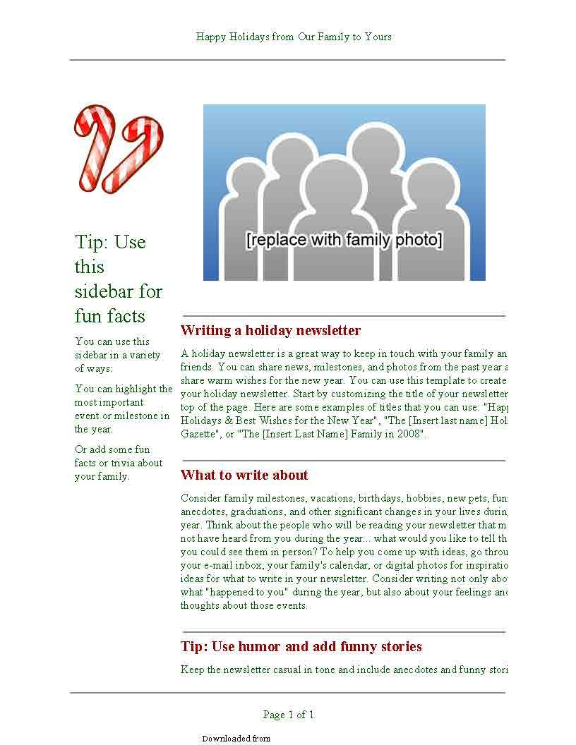 Holiday Newsletter Template 1 Pdf – Pdf Format | E E Newsletter Content Plan Template
