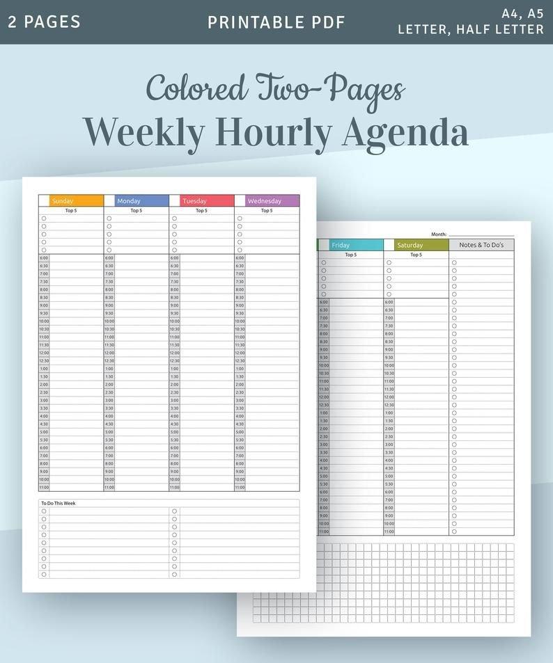Hourly Planner Printable Weekly Planner Printable Undated Daily Hour By Hour Printable Calendar